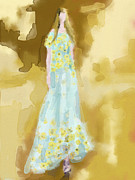 Fashion Paintings - Rodarte Floral Dress Fashion Illustration by Beverly Brown Prints
