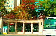 Educational Painting Metal Prints - Roddick Gates Mcgill Campus Sherbrook Street Bus Autumn Downtown Montreal City Scenes Carole Spandau Metal Print by Carole Spandau