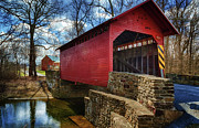 Covered Bridge Digital Art Prints - Roddy Road Covered Bridge Print by Joan Carroll