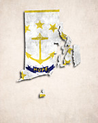 Hope Digital Art - Rode Island Map Art with Flag Design by World Art Prints And Designs