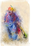 Tricks Mixed Media Prints - Rodeo Clown Print by Andrea Auletta