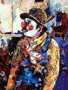 Rodeo Art Painting Posters - Rodeo Clown Poster by Suzy Pal Powell