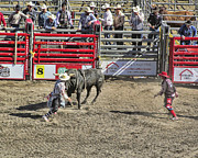 Ron Roberts Photography Greeting Cards Posters - Rodeo Clowns at work Poster by Ron Roberts