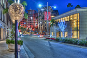 David  Zanzinger - Rodeo Drive lit at night with beautiful colors