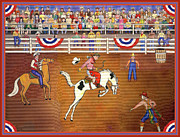 Spectators Paintings - Rodeo One by Linda Mears