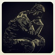 Indian Ink Drawings Prints - Rodin Print by Mustafa ZUMRUTTAS