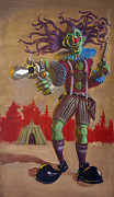 Suspenders Painting Posters - Rodney the Gunslinging Hermit Clown Poster by Mike Fahl