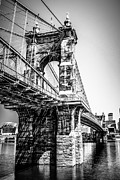 Historical Landmark Framed Prints - Roebling Bridge Cincinnati Black and White Picture Framed Print by Paul Velgos