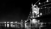 Cincinnati Framed Prints - Roebling Bridge in Black and White Framed Print by Twenty Two North Photography