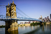 Brick Buildings Photo Prints - Roebling Bridge in Cincinnati Ohio Print by Paul Velgos