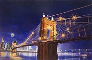 Cincinnati Paintings - Roebling Bridge by Larry  Womack