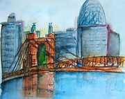 Roebling Point Paintings - Roebling Bridge near Dusk by Elaine Duras