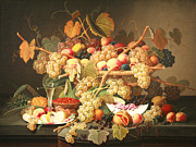 Portrait With Still Life Framed Prints - Roesens Still Life With Fruit Framed Print by Cora Wandel