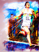Runner Pastels Posters - Roger Bannister Worlds Record Holder in Mile Run Poster by Dariusz Janczewski
