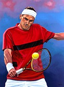 Swiss Painting Metal Prints - Roger Federer 2 Metal Print by Paul  Meijering
