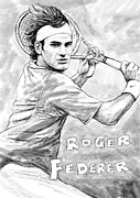 Tennis Player Drawings Prints - Roger federer art drawing sketch portrait Print by Kim Wang