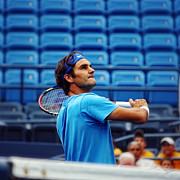 Lawn Tennis Framed Prints - Roger Federer  Framed Print by Nishanth Gopinathan