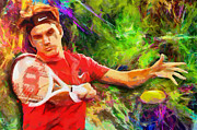 Tennis Digital Art Framed Prints - Roger Federer Framed Print by RochVanh