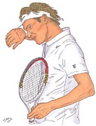 Wimbledon Drawings Prints - Roger Federer Print by Steven White