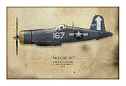 Carrier Metal Prints - Roger Hedrick F4U Corsair - Map Background Metal Print by Craig Tinder