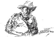 Cowboy  Drawings Metal Prints - Roger In A Cowboy Hat Metal Print by Ylli Haruni