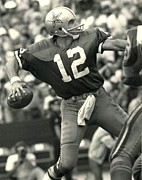 Nfl Photo Prints - Roger Staubach Vintage NFL Poster Print by Sanely Great