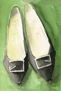 Watercolour Paintings - Roger Vivier Black Buckle Shoes Fashion Illustration Art Print by Beverly Brown Prints