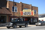 Blue Bricks Photos - Rogers City Michigan - Theater and Pickup by Frank Romeo