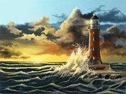 Lighthouse At Sunrise Prints - Roker Print by Sena Wilson