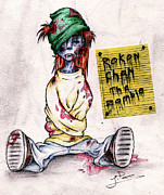 Zombies Drawings Prints - Rokon Chan the Zombie Print by Rokon Chan