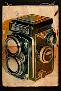 Old Camera Mixed Media Framed Prints - Rolleiflex Framed Print by Marina Burrascano