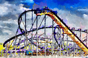 Mechanics Painting Prints - Roller coaster painting Print by Magomed Magomedagaev