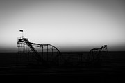 Roller Coaster Silhouette Black And White Print by Michael Ver Sprill