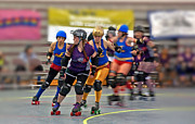 Roller Skates Photo Prints - Roller Derby Women In Action Print by Valerie Garner