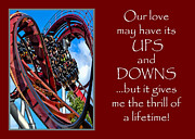 Copenhagen Denmark  Digital Art Prints - Rollercoaster Valentine Print by Julia Springer