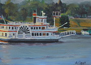 Ohio River Painting Posters - Rollin Down the River Poster by Stephanie Allison