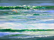 Flying Seagull Painting Framed Prints - Rolling Green Framed Print by AnnaJo Vahle