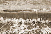 Brown Tones Framed Prints - Rolling Sea Wave - Sepia Framed Print by Natalie Kinnear