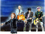 Keith Richards Drawings - Rolling Stones at T D Garden by Dave Olsen