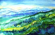 Italian Villas Paintings - Rolling Tuscan Landscape by Trudi Doyle