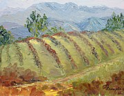Viticulture Painting Prints - Rolling Vineyard Print by Inka Zamoyska