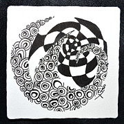Tangle Drawings - Rolling Zen by Beverley Harper Tinsley