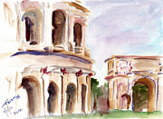 Greece Watercolor Paintings - Roma Coliseum by Valerie Freeman