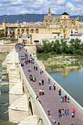 Visitor Prints - Roman Bridge and Mezquita in Cordoba Print by Artur Bogacki