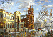 Old Tram Painting Framed Prints - Roman Catholic church Framed Print by Dmitry Spiros