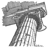 Column Drawings - Roman Ionic Column Capital by Calvin Durham