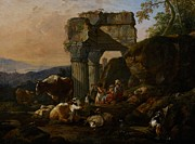 Roman Columns Painting Prints - Roman Landscape with Cattle and Shepherds Print by Johann Heinrich Roos