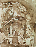 Surrealism Drawings - Roman Prison by Giovanni Battista Piranesi