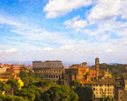 Roman Ruins Metal Prints - Roman Skyline On A Beautiful Afternoon Metal Print by Mark E Tisdale