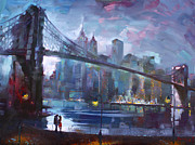 Brooklyn Bridge Painting Prints - Romance by East River II Print by Ylli Haruni